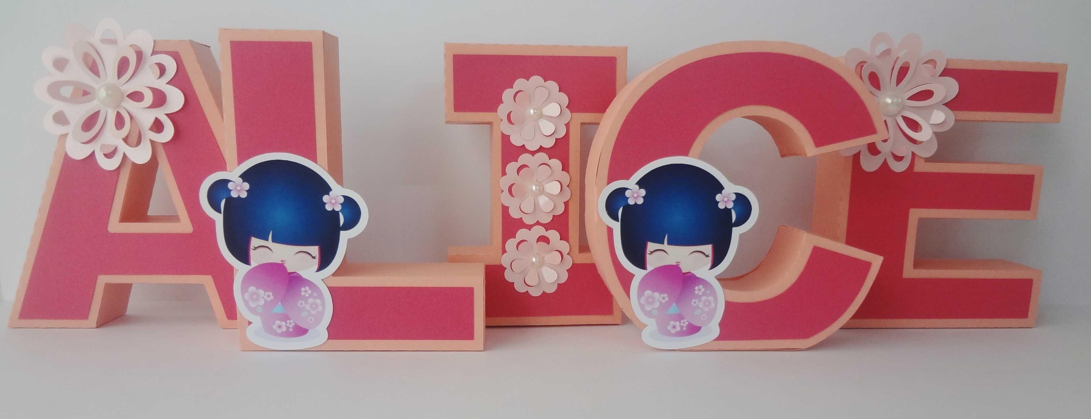 Letras 3d para decorar encantar e brilhar papel e - Letras para decorar habitacion infantil ...